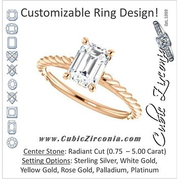 Cubic Zirconia Engagement Ring- The Lolita (Customizable Radiant Cut Style with Braided Metal Band and Round Bezel Peekaboo Accents)