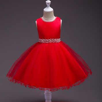 ruthshen Princess Red/Pink/Champagne/Purple Flower Girl Dresses With Pearls Crystals Bow Tulle Ball Gowns Cosplay Costume 2018