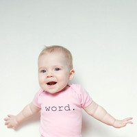 Word Light Pink or Kelly Green Baby Onesuit by garbella on Etsy