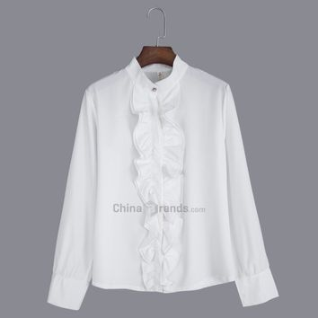 OL Style Stand Collar Flounced Chiffon Blouse for Women