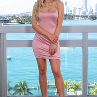 Blush Short Dress with Tie Straps