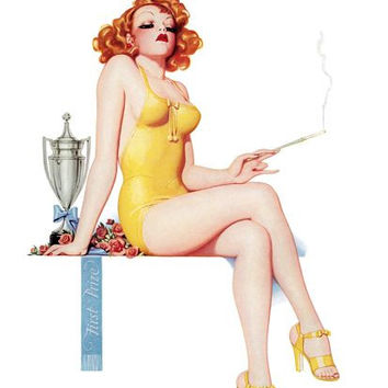 Pinup Girl Redhead With A Cigarette Poster