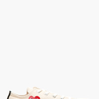 Comme Des Garons Play Cream Canvas Heart Logo Converse Edition Sneakers