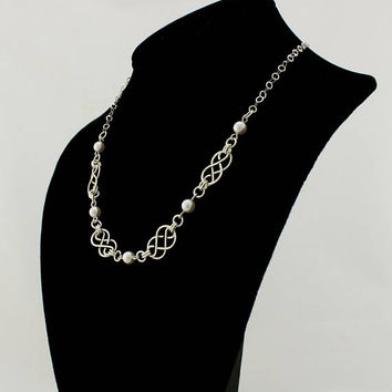 Sterling Silver Necklace with Handcrafted Celtic Knots and Swarovski Pearls, Women's Necklace, Celtic Jewelry, Pearl Necklace, Gift for her