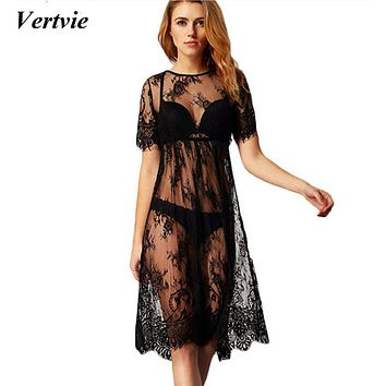 Vertvie 2017 New Lace Crochet Bikini Cover Up Swimwear Beach Dress Swimsuits Black Sexy Solid Hollow Out Beach Tunic Cover ups