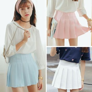 6 Color Large Size Japanese School Uniform Skirts 2018 High Waist Denim Pleated Skirts Harajuku Girls A-line Mini Sailor Skirt