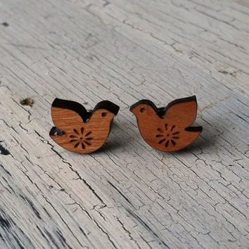 Wooden Bird Earrings - Dove Stud Earrings - Wood Stud Earrings, Etched Wood Earrings, Bird Studs