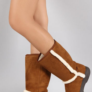 Bamboo Suede Fur Trim Round Toe Mid Calf Flat Boots