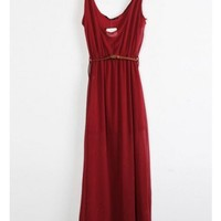A Line Women Scoop Sleeveless Floor Length Net Wine Red Dress S/M/L@II0049wr $17.70 only in eFexcity.com.