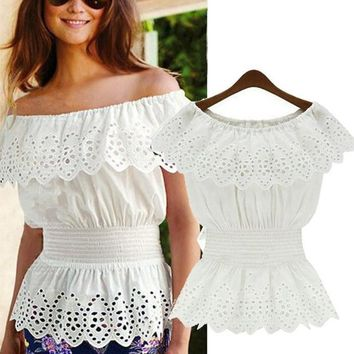 Women Off Shoulder Lace Peplum Shirt Top