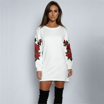 Round-neck Long Sleeve Floral Hoodies