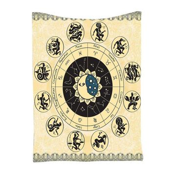 Zodiac Horoscope Tapestry Astrology Hippie Wall