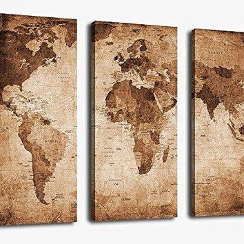 Canvas Wall Art Prints Vintage World Map Painting Ready to Hang - 3 Pieces Large Framed Canvas Art