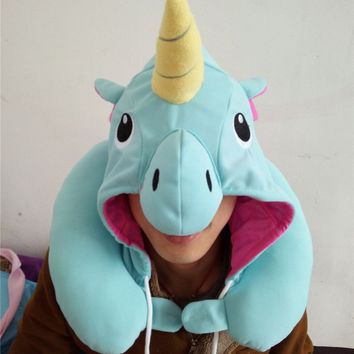 UNICORN blue Kigurumi Travel Bead Hooded Neck Pillow plush stuffed
