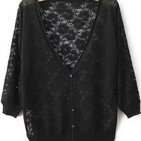 Black Button Down Lace Cardigan