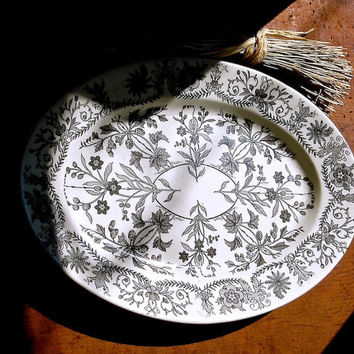Antique Black Transferware Platter, TR Boote, England - Floral Pattern Dish, Lahore Transfer Ware, Black and White, Cottage Kitchen Decor