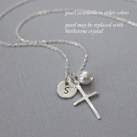 Personalized Cross Necklace, Sterling Silver Cross Pendant and Swarovski Pearl on Sterling Silver Necklace Chain