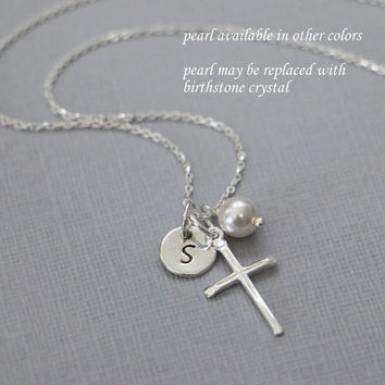 Personalized Cross Necklace, Sterling Silver Cross Necklace, Tiny Cross Necklace, Baptism Gift, Flower Girl Gift, Confirmation Gift