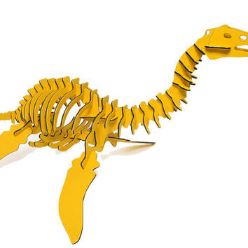 "[GIANT] 3D Dinosaur Puzzle - Plesiosaurus (72"" L x 36"" H) - 1/2"" Recycled HDPE - 8 Two-Tone Color Combinations"