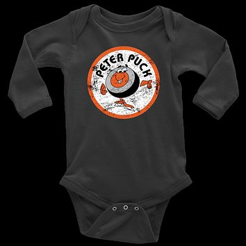 Retro Peter Puck Distressed Logo Infant Long Sleeve Bodysuit