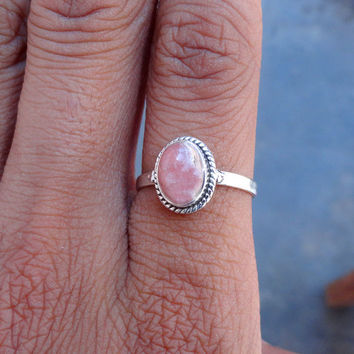 Natural Rhodochrosite Ring - stone silver ring, Sterling Silver Ring, Unique Rhodochrosite Gemstone, Ring Jewelry - Pink Rhodochrosite Ring