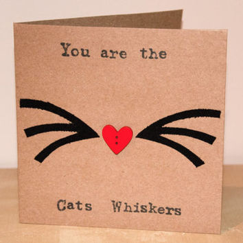 Valentine Card - Fabric - Anniversary Card - The Cats Whiskers - Cute Cat Valentine's Day - Cat Lovers