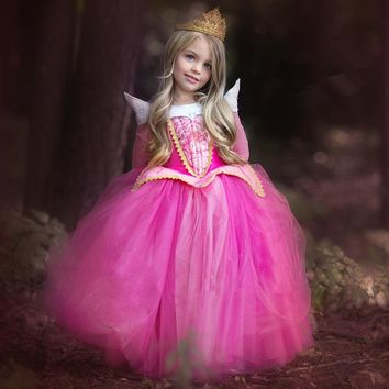 Nacolleo New Spring Princess Dress Children Dresses Long Sleeve Elsa Dress Costume Party Fancy Kids Clothes Aurora pink&blue