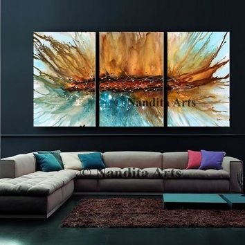 """Large Blue, Purple, and Orange Wall Art, 72"""" Abstract Painting on Canvas, Contemporary Art, Handmade Oil Painting modern Art, By Nandita"""