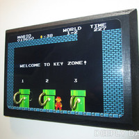Super Mario Brothers Inspired Three Hook Key Holder - Welcome To Warp Zone - Pipes