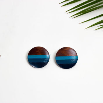 Big wood button earrings, handmade by See Rue. turquoise painted wood. lead & nickel free. One of a kind