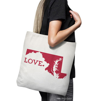 Maryland Tote Bag // Unique Gift Idea // Home State Love // white canvas tote with black inside and handle