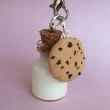 Polymer clay cookie and milk charm, cookie charm, milk charm, polymer clay charm, polymer clay charms, cookies and milk, food charm, food