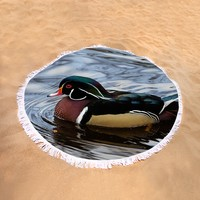 Colorful Forest Jewel - A Wood Duck In A Secluded Lake Round Beach Towel
