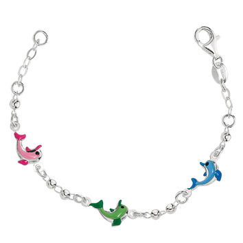 Baby Bracelet With Colorful Dolphin Charms In Sterling Silver - 6 Inches