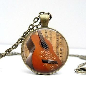 Guitar Necklace - Acoustic Guitar Guitar Pendant Country Music Country Girl