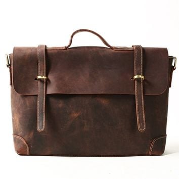 BLUESEBE MEN VINTAGE GENUINE LEATHER MESSENGER BAG 0342