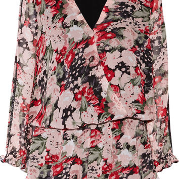 Ellar lace-trimmed wrap-effect printed silk crepe de chine playsuit | Joie | US | THE OUTNET