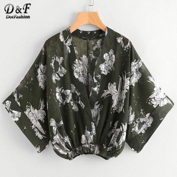 Random Floral Kimono Sleeve Surplice Blouse Summer V Neck Crop Blouse Green Half Sleeve Floral Blouse