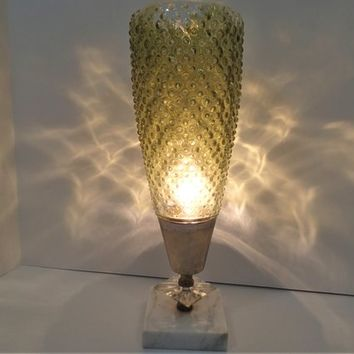 Mid Century Kitsch Conical Accent Lamp Bedroom Table or Desk lamp. Cone shaped Hobnail glass Lampshade Light