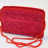 Summer Bag Lipstick Red Raffia Basket Clutch 1970s Crosssbody Bag