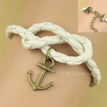 Anchor bracelet, leather bracelet, , infinity knot, god's gift, antique copper ,The best gift