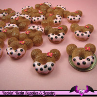 4 pcs MOUSE HEAD DOUGHNUT Sweets Kawaii Resin Decoden Flatback Cabochon 23x25mm