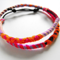 Double wrap adjustable bracelet boho hippie style friendship bracelets colorful and stackable !