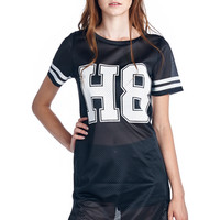 """H8"" No Hate Black Athletic Mesh Dress with Rounded Hem"