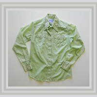 Vintage 70s Western Shirt with Pearl Snap Buttons Pale Green Longsleeve Mens Shirt by Rockmount Ranchwear
