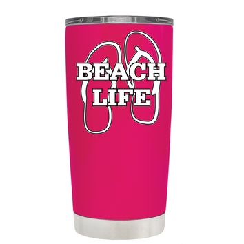 The Beach Life Sandals on Hot Pink 20 oz Tumbler Cup