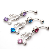 Fashion butterfly tassels zircon belly button ring antiallergic Navel Belly Ring-0428-Gifts box