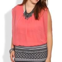 Plus Size Sleeveless Blouson Dress with Tribal Printed Banded Skirt