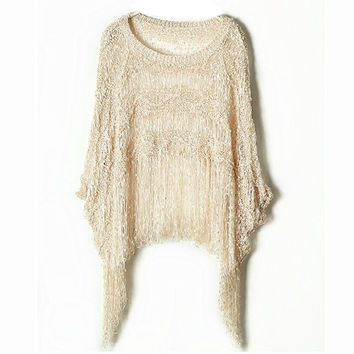 Plus Size Batwing Sleeve Scarf Tassels Round-neck Pullover Knit Tops Sweater [9022427204]
