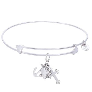Sterling Silver Sweet Bangle Bracelet With Faith,Hope,Charity Charm